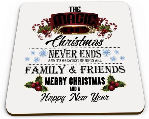 The Magic of Christmas Never Ends Glossy Mug Coaster